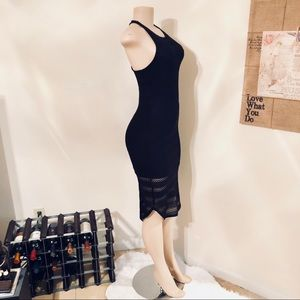 ecote Black Linear Lace Bodycon Dress